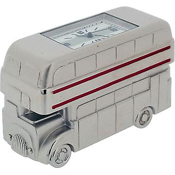 Gift Time Products Double Decker Bus Miniature Clock - Silver