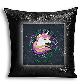 i-Tronixs - Unicorn Printed Design Black Sequin Cushion / Pillow Cover for Home Decor - 10