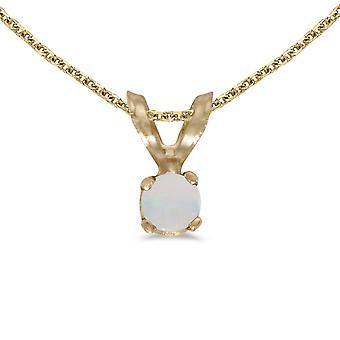 LXR 14k keltainen kulta pyöreä opaali riipus 0,04 ct