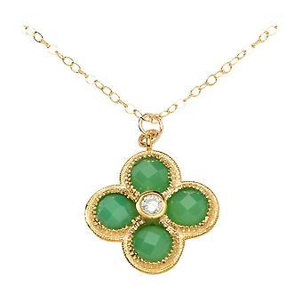 Gemshine kvinners halskjede. Green Kalkedon anheng. 925 sølv eller forgylt