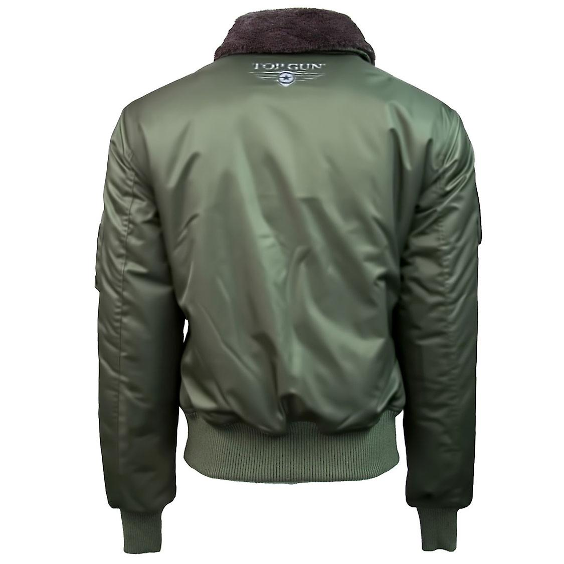 Top Gun B Nylon 15 bombardero chaqueta con desmontable parches oliva