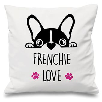 Frenchie amour blanc coussin couvre 16