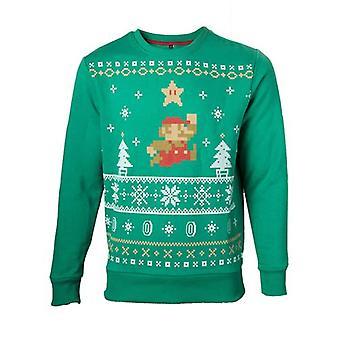 Nintendo Super Mario Bros Männer laufen Xmas Mario Weihnachtspullover Extra großes grün (Modell-Nr. SW238006NTN-XL)