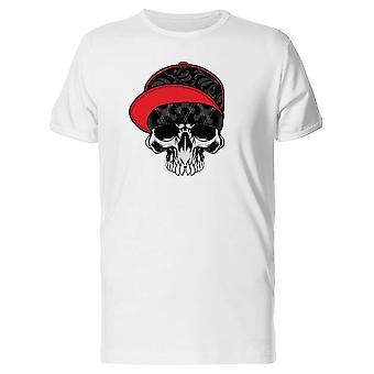 Crânio com um boné vermelho e preto do Tee MASC-imagem por Shutterstock