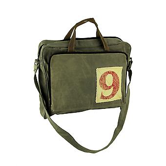 Canvas and Leather Vintage Style Rustic Number 9 Messenger Bag