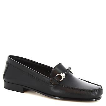 Flâneurs bit à la main de Leonardo chaussures en cuir de veau noir