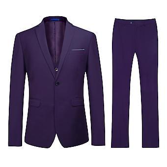 Allthemen Men's Purple One-Button Slim Business Casual 3-Piece Suit