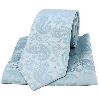 David Van Hagen Paisley vævet slips og lomme Square sæt - lyseblå