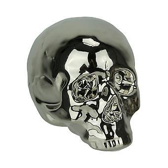 Chrome Silver Finish Ceramic Human Skull Statue