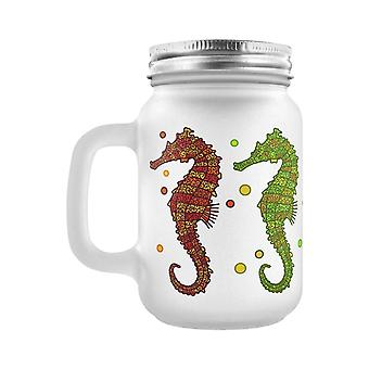 Grindstore A Shoal Of Seahorses Frosted Mason Jar Drinking Glass