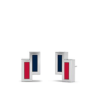 Atlanta Braves Sterling Silver Asymmetric Enamel Stud Earrings In Blue & Red