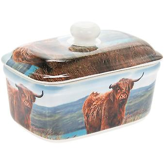 Highland Cow Butter Dish Stylish Decorative Gift Box Kitchen