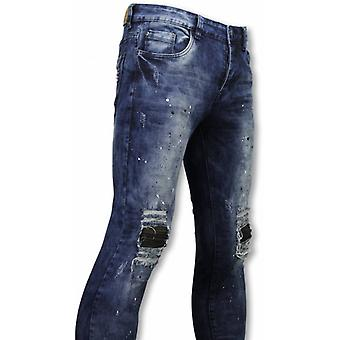Biker Jeans - Slim Fit Damaged Knee With Paint Drops - Blue