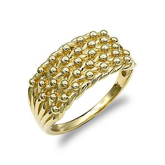 Jewelco London Men's Solid 9ct Yellow Gold 5 Row Keeper Rope Edge Ring