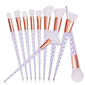 10-Pack Makeup brushes, unicorn-Purple
