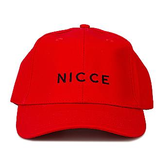 Mens Nicce Antonio Cap In Red- Pre-Curved Brim- Button To Top- Six Panel