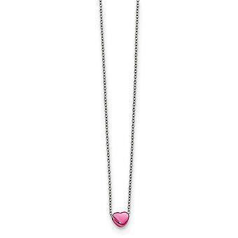 Edelstahl rosa Ip vergoldet poliert Liebe Herz Halskette 16 Zoll Schmuck Geschenke für Frauen