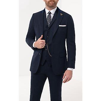 Loch Hart Herre blå Donegal Tweed 3 stykke jakkesæt fløjl trim