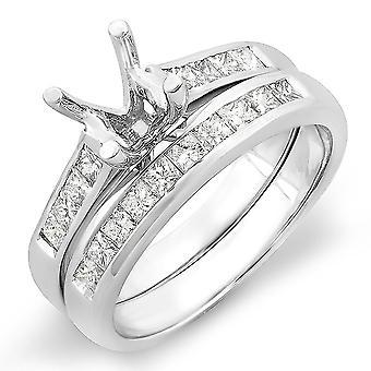 Dazzlingrock Collection 0.50 Carat (ctw) 14K Princess Diamond Semi Mount Engagement Ring Set 1/2 CT, White Gold