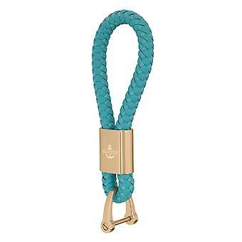 Skipper Pendant Keychain Cuir/Nylon Turquoise/Or 8254