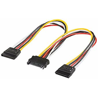 UK SATA Dual Power Y Splitter Adaptor Cable Lead 2 Way 15f Pin -15 Pin CabledUp