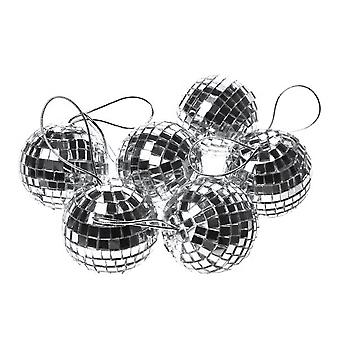 6 Pack 6cm Silver Disco Mirror Ball Christmas Tree Décoration ornement