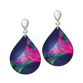 Eternal Collection Bolero Purple And Pink Multicoloured Aluminium Drop Clip On Earrings