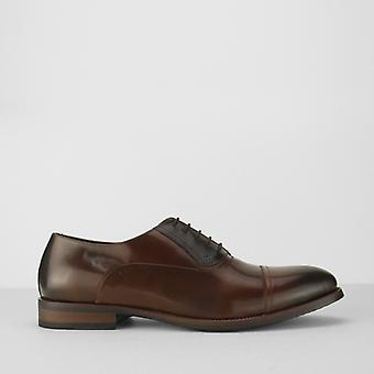 Azor Corsica Mens Leather Oxford Shoes Tan/brown