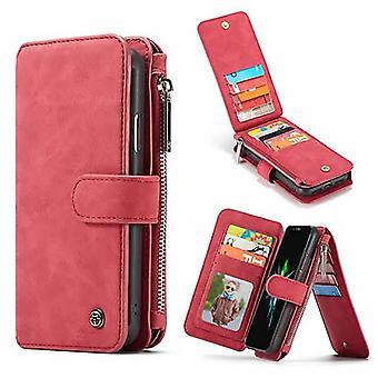Etui Pour Iphone Xr Portefeuille Multifonctions Rouge