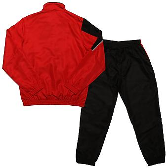 Junior Boys Umbro Division Lined Tracksuit In Red Black- Jacket:- Zip Fastening-