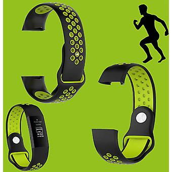 For Fitbit Charge 3 Plastic / Silicone Bracelet for Women / Size S Black-Green Watch