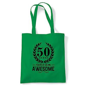 50 Years Of Being Awesome Tote | Happy Birthday Celebration Party Getting Older | Reusable Shopping Cotton Canvas Long Handled Natural Shopper Eco-Friendly Fashion