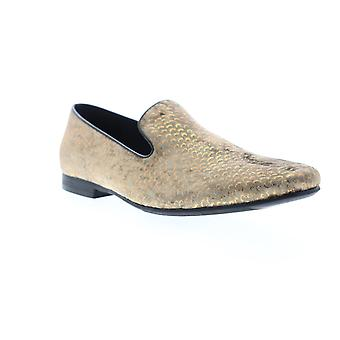 Giorgio Brutini Court  Mens Gold Canvas Dress Slip On Loafers Shoes