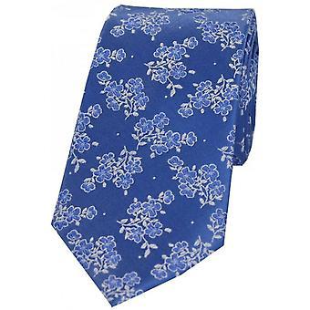 David Van Hagen Small Flowers Silk Tie - Blue