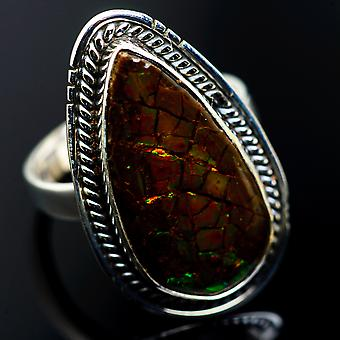 Large Ammolite Rings 8.25 (925 Sterling Silver)  - Handmade Boho Vintage Jewelry RING985289