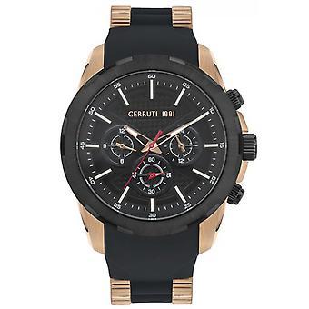 Cerruti CRA27801 Watch-relógio masculino multifunções de aço preto de silicone
