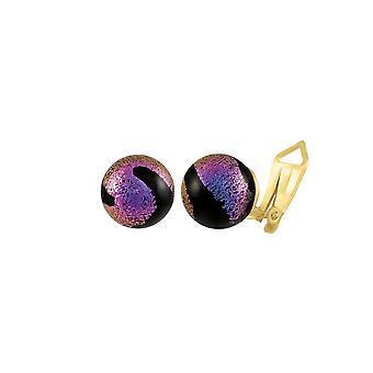 Eeuwige collectie bellissimo zwart/magenta Murano Glass Stud clip op oorbellen