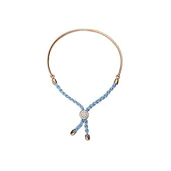 925 Sterling Silver Rose Plated Bar Light Blue Braided Macrame Bracelet 7 Inch Jewelry Gifts for Women