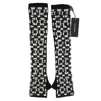 Dolce & Gabbana Black Cashmere Crystal Finger Less Elbow-Length Handschoenen
