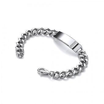 David Deyong Stainless Steel Enamel & Cubic Zirconia Id Curb Chain Bracelet
