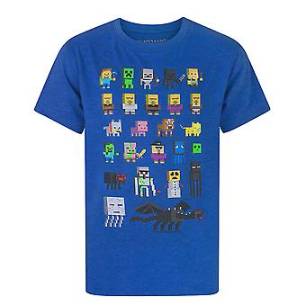 Minecraft Sprites Characters Boys Short Sleeve Blue T-Shirt