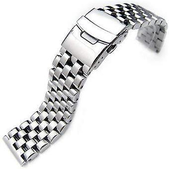 Bracelet de montre Strapcode 20mm, 22mm ou 24mm poli super ingénieur type i lien solide 316l bracelet de montre en acier inoxydable