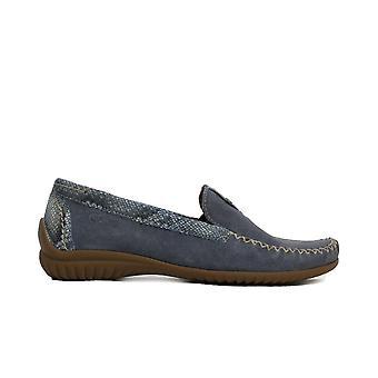 Gabor קליפורניה 090-24 עור כחול נשים התאמה רחב להחליק על נעליים מוקסין