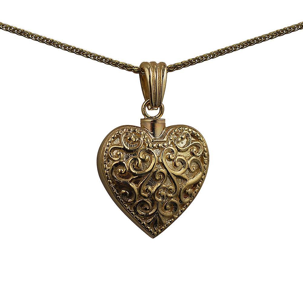 9ct Gold 25x22mm handmade Embossed Heart shaped Memorial Locket with a spiga Chain 16 inches Only Suitable for Children