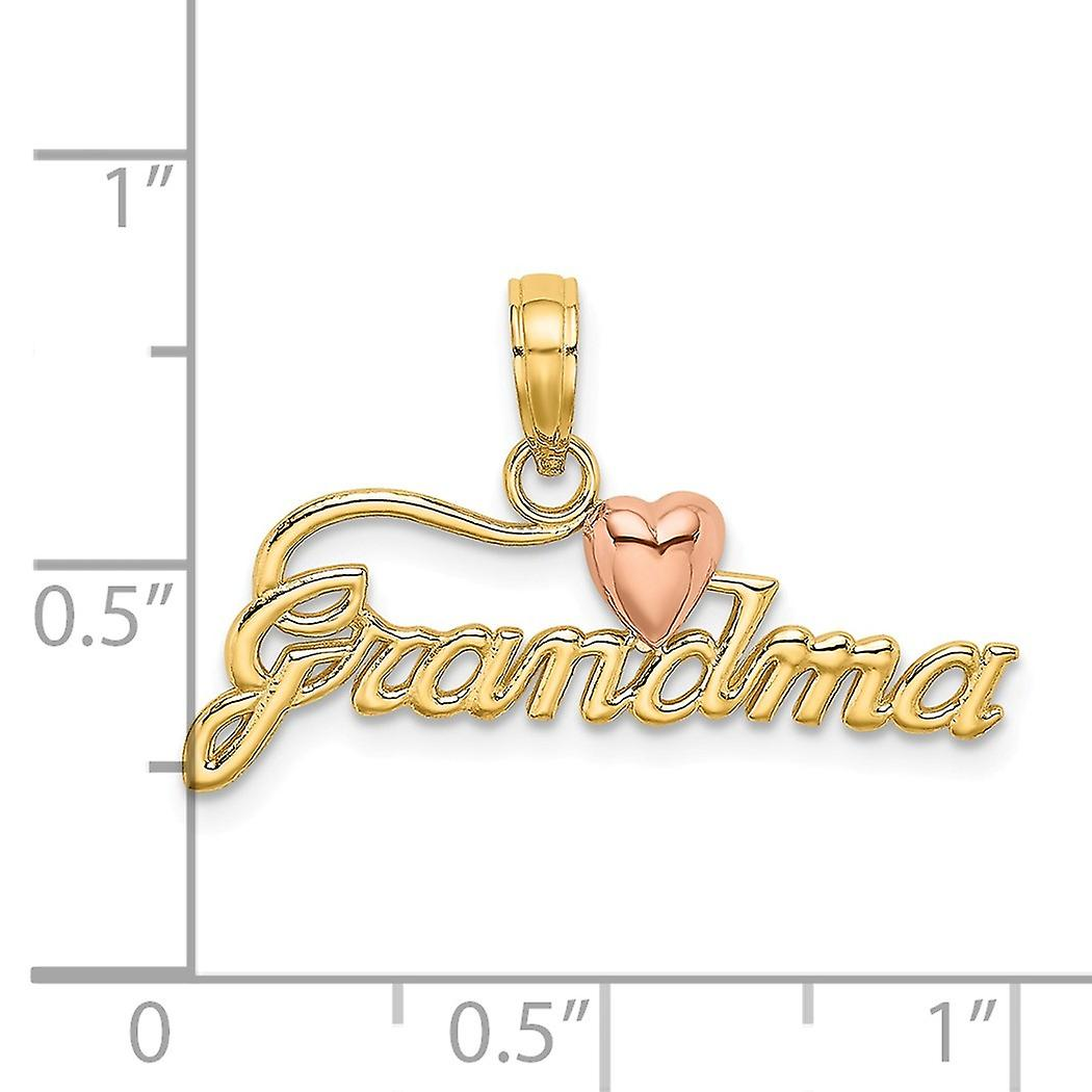 14k Gold 25mm Grandma With Pink Love Heart Pendant Necklace Script Jewelry Gifts for Women
