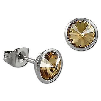 Amello - Pin Earrings - Zirconia - Stainless Steel