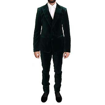 Dolce & Gabbana Green Velvet Slim Fit Two Button Suit -- KOS1928240