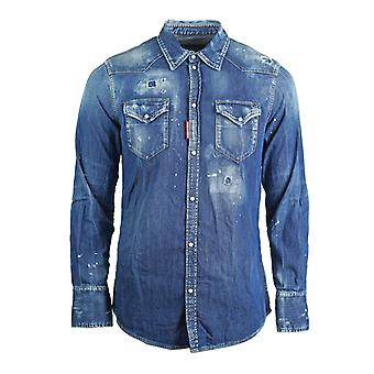 Dsquared2 Distressed Blue Denim Shirt