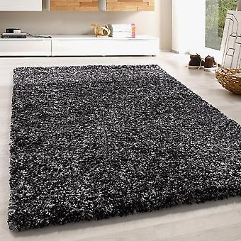 High Flor Shaggy Rug Soft Soft Long Floral Carpet Black Grey Cream Melted