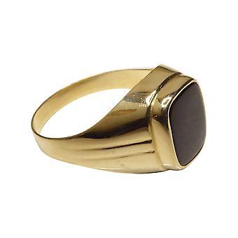 Gouden cachet ring met zwarte lagensteen